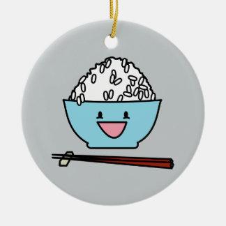 Happy bowl of white rice chopsticks carbs round ceramic decoration