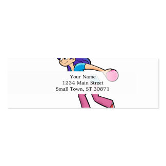 happy Bowling girl. Pack Of Skinny Business Cards