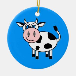 Happy Boy Cow Christmas Ornament