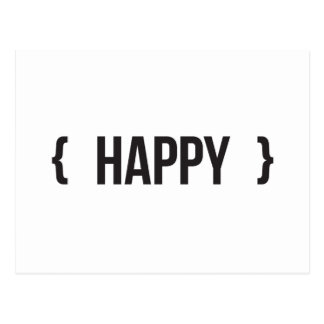 Happy - Bracketed - Black and White Postcard