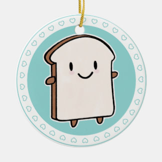 Happy Bread Slice Round Ceramic Decoration