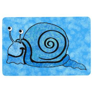 Happy Bright Aqua Blue Snail Black Accented Shell Floor Mat