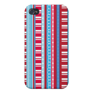 Happy Bright Colorful Red White Blue Stripes iPhone 4/4S Cases