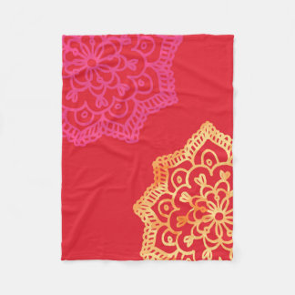 Happy bright red lace fleece blanket
