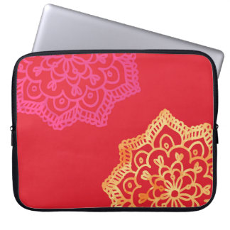 Happy bright red lace laptop sleeve
