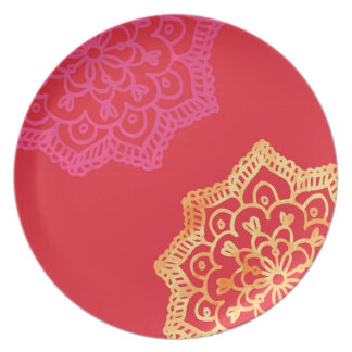 Happy bright red lace plate