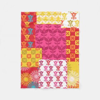 Happy bright retro floral collage fleece blanket