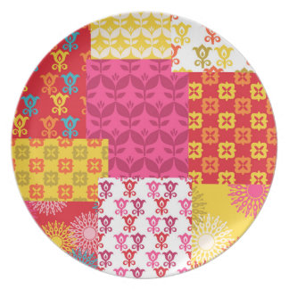 Happy bright retro floral collage party plates