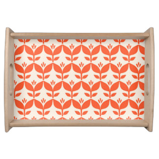 Happy bright retro floral orange serving tray