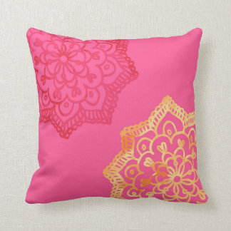 Happy bright retro floral pink lace cushion