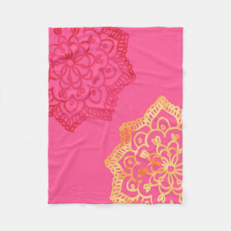 Happy bright retro floral pink lace fleece blanket