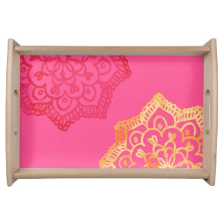 Happy bright retro floral pink lace serving tray