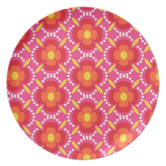 Happy bright retro floral pink plate