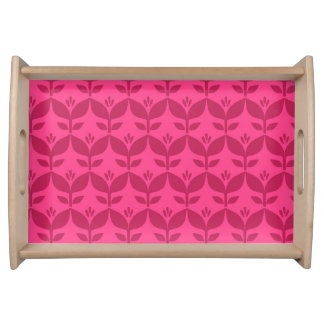 Happy bright retro floral pink serving tray