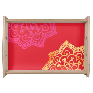 Happy bright retro floral red lace serving tray