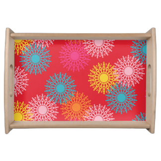 Happy bright retro floral red serving tray