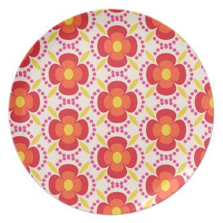 Happy bright retro floral white plate