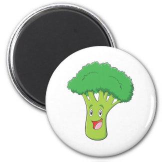 Happy Broccoli Vegetable Smiling 6 Cm Round Magnet