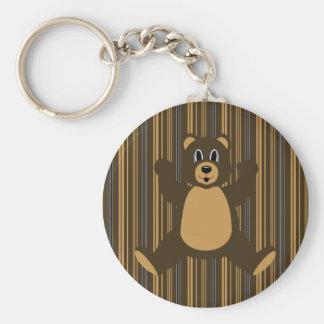 Happy Brown Bear Vertical Stripes Keychain