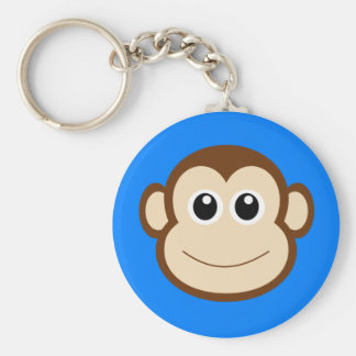 HAPPY BROWN CARTOON MONKEY SMILING FACE ROYAL BLUE KEYCHAINS