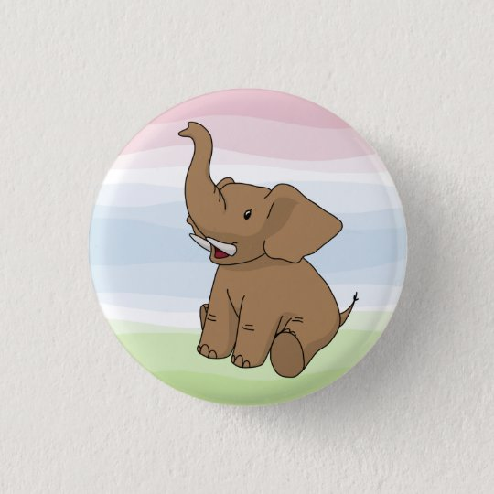 Happy Brown Elephant Button
