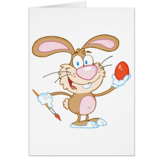 Happy  Brown Rabbit Painting Easter Egg Greeting Card