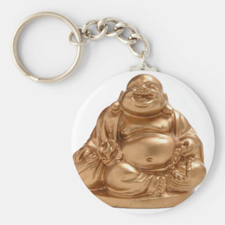 Happy Buddha Basic Round Button Key Ring