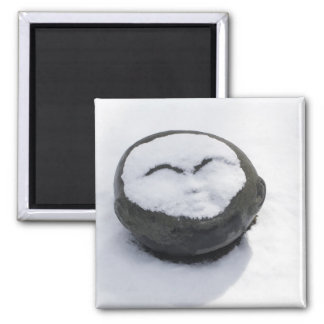 Happy Buddha With Snow Facial Square Magnet