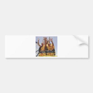Happy buddhist monks on a roller coaster bumper sticker