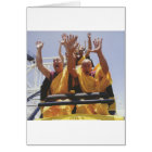 Happy buddhist monks on a roller coaster card