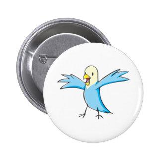 Happy Budgerigar Parrot Bird Cartoon Pinback Button