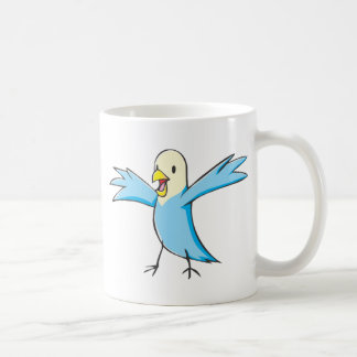Happy Budgerigar Parrot Bird Cartoon Basic White Mug