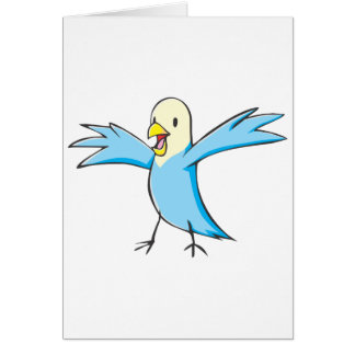 Happy Budgerigar Parrot Bird Cartoon Greeting Card