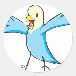 Happy Budgerigar Parrot Bird Cartoon Round Sticker