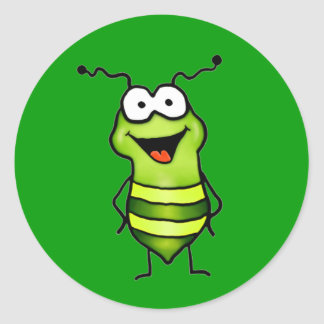 Happy Bug Round Stickers