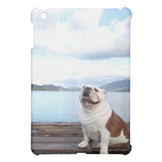 happy bull dog sitting on deck near lake case for the iPad mini