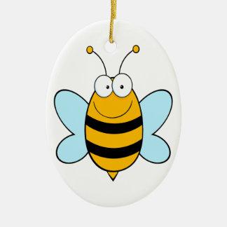 happy bumble bee goofy cartoon christmas ornament