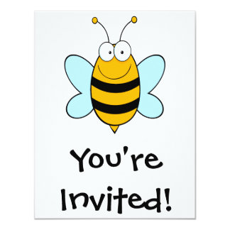 happy bumble bee goofy cartoon invites