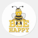 Happy Bumble Bee Round Sticker