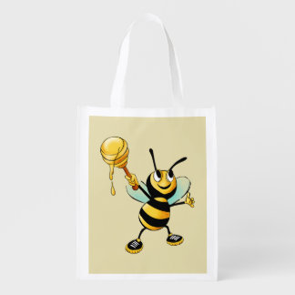Happy Bumble Bee with a Scoop of Honey