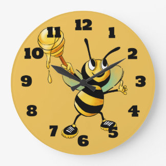 Happy Bumble Bee with a Scoop of Honey Large Clock