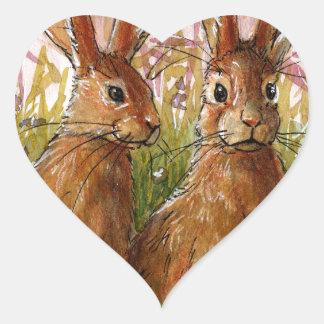 Happy Bunnies design by Schukina A072 Heart Sticker