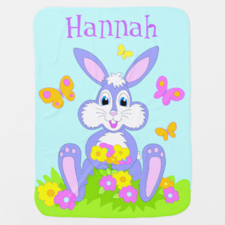 Happy Bunny Baby Blanket Personalized Name