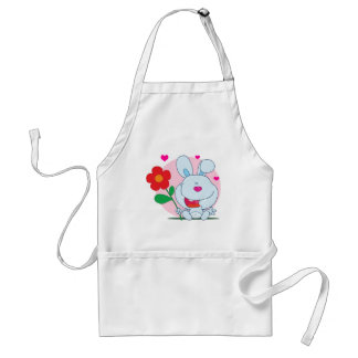 Happy Bunny holds flower Aprons