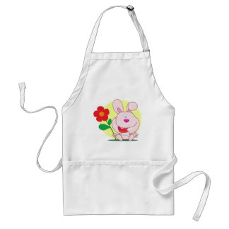 Happy bunny holds flower apron