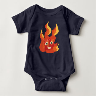 Happy Burning Fire Flame Character Baby Baby Bodysuit