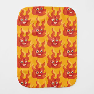 Happy Burning Fire Flame Character Pattern Baby Burp Cloth
