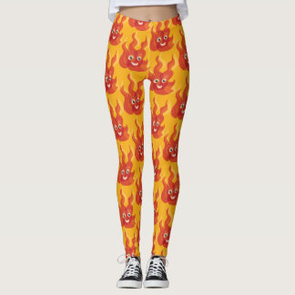 Happy Burning Fire Flame Character Pattern Leggings