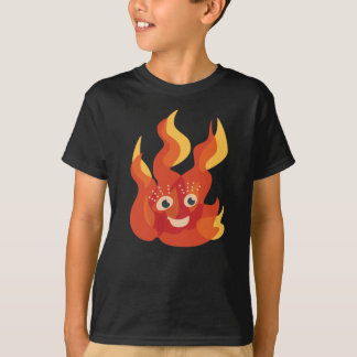 Happy Burning Fire Flame Character T-Shirt