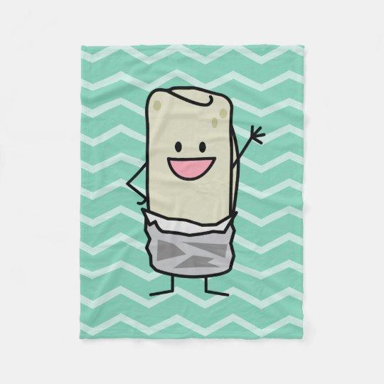 Happy Burrito waiving hello Fleece Blanket